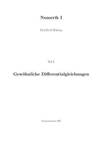 Skriptum zu den gewöhnlichen Differentialgleichungen - G-CSC Home