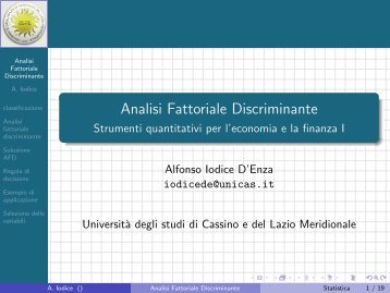 Analisi Fattoriale Discriminante - Strumenti ... - Docente.unicas.it