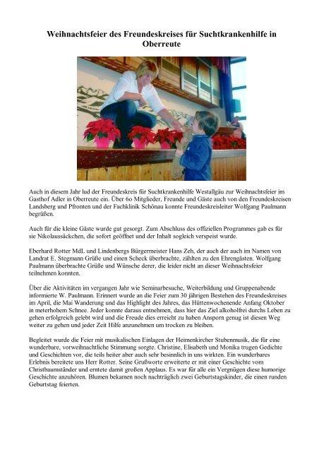 Weihnachtsfeier Geschichte.Weihnachtsfeier Des Freundeskreises Für Suchtkrankenhilfe In