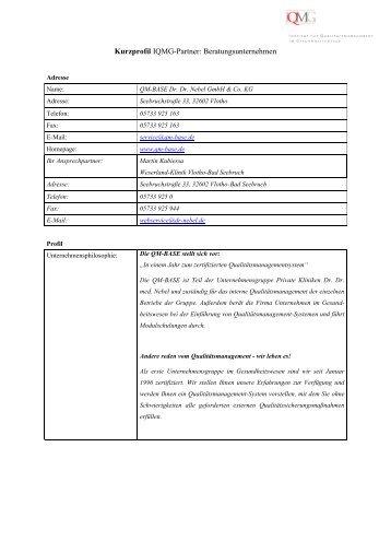 Kurzprofil - IQMG Institut für Qualitätsmanagement im ...