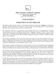 announcement appointment of new director - First Pacific Company ...