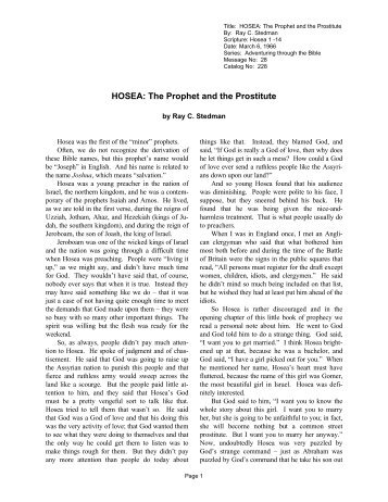 HOSEA: The Prophet and the Prostitute - Discipleship Library