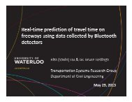Short-term travel time prediction using data collected ... - (ITS) Canada