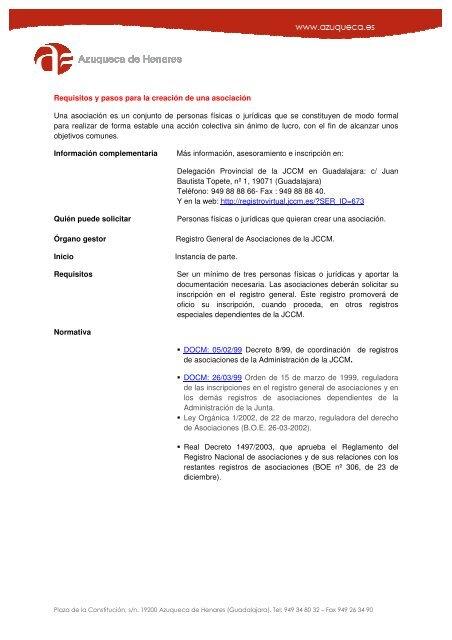 Tramites para constituirse como asociación - Ayuntamiento de ...