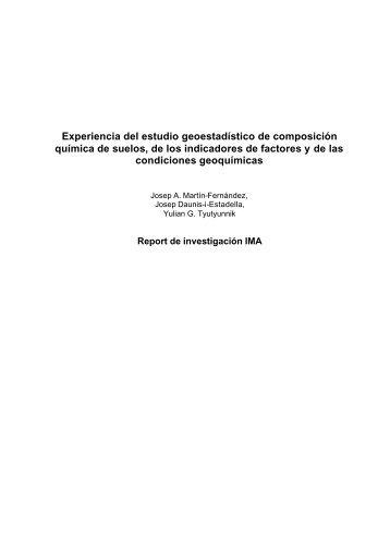 Experiencia del estudio geoestadístico de composición química de ...