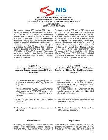 НИС a.д. Нови Сад / NIS j.s.c. Novi Sad Народног фронта 12 ...