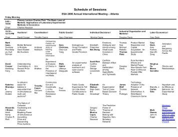 Schedule of Sessions - Experimental Economics Center