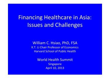 Financing Healthcare in Asia - World Health Summit