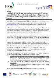 Méthode OPTIMAE - une coopérative citoyenne pour la mise en ...