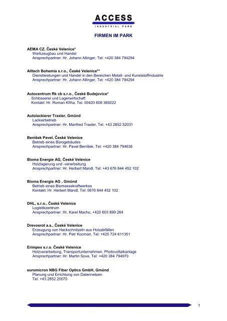 Firmenübersicht zum Download (PDF) - Access Industrial Park