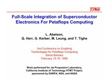 Full-scale Integration of Superconductor Electronics for Petaflops ...
