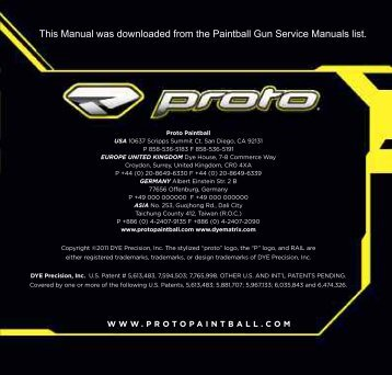 2011 Proto Rail Paintball Gun Service Manual - Wolfpack Paintball ...