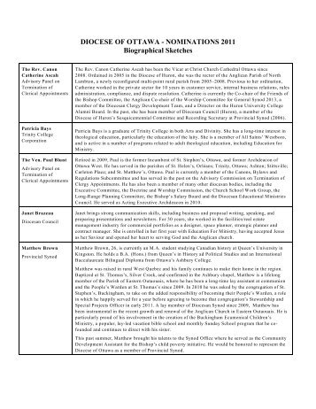 Biographies of nominees - Anglican Diocese of Ottawa