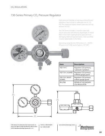 730-Series Primary CO2 Pressure Regulator - Garland - Canada