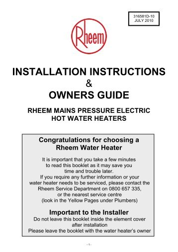 Rheem RP1448AJ1NA Installation Instructions Manual 52 Pages