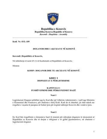 Kodi Doganor dhe i Akcizave në Kosovë - Dogana e Kosovës