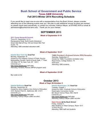 Fall 2013 - Winter 2014 Recruiting Schedule [PDF] - Bush School of ...