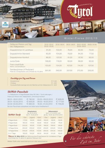 SkiWelt-Pauschale - Hotel Tyrol