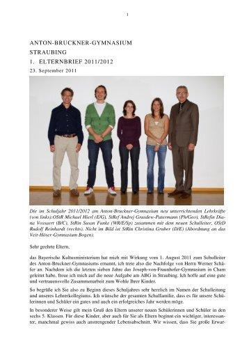 1. Elternrundbrief 2011-2012 - Anton Bruckner Gymnasium, Straubing