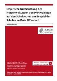 Empirische Untersuchung der Nutzenwirkungen von PPP Projekten ...