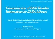 Dissemination of R&D Results Information by JAEA ... - OpenGrey