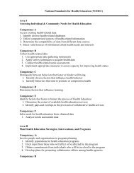 National Standards for Health Education (NCHEC) Area I Assessing ...