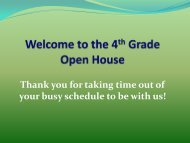 Welcome to the 4th Grade Open House - Fall Creek School District