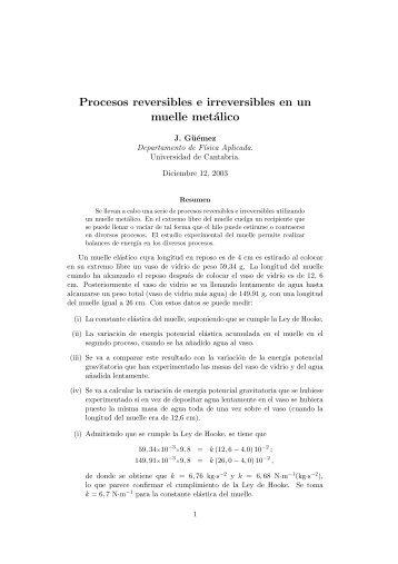 Procesos reversibles e irreversibles en un muelle metálico