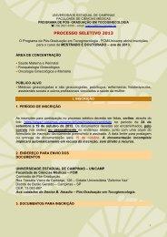 PROCESSO SELETIVO 2013 - Fcm - Unicamp