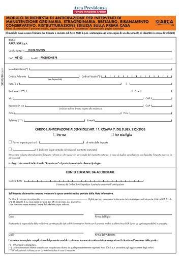Modulo di richiesta di anticipazione per ulteriori arca previdenza - Modulo per ristrutturazione casa ...