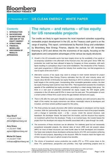 The return – and returns - Bloomberg New Energy Finance