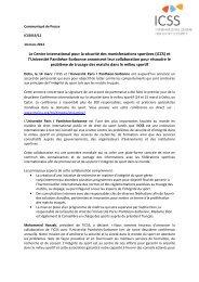 Communiqué de Presse - International Centre for Sport Security