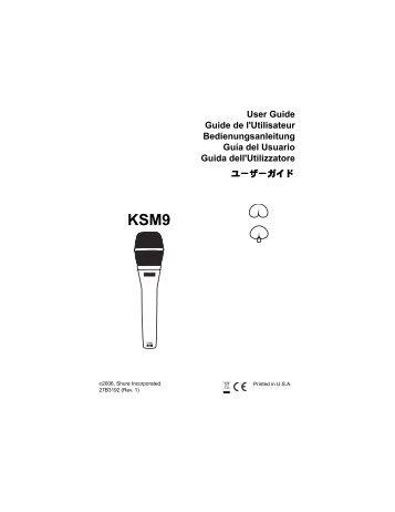 Shure KSM9 User Guide English - Pro Music
