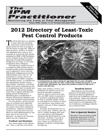 2012 Directory of Least-Toxic Pest Control Products - Bio-Integral ...