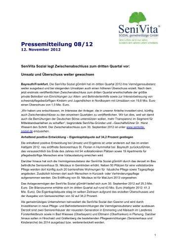 Pressemitteilung 08/12 - SeniVita