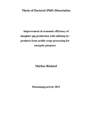 Thesis of Doctoral (PhD) Dissertation Márkus Richárd