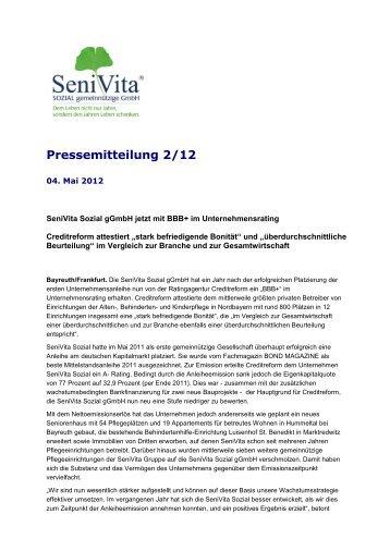 Pressemitteilung 2/12 - SeniVita Sozial gGmbH