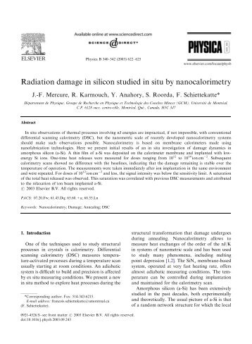 Radiation damage in silicon studied in situ by ... - ResearchGate