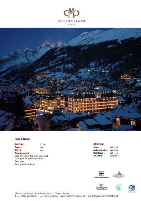 FACTS & FIGURES GDS CODES - Seiler Hotels Zermatt