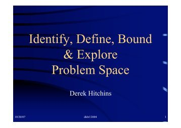Identify, Define, Bound & Explore Problem Space - Systems World