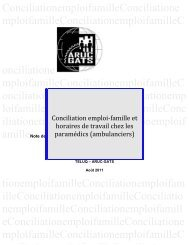 Conciliation emploi-famille et horaires de travail chez les paramédics