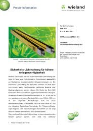 PR-Text Sicherheits-Lichtvorhang SLC - Wieland Electric