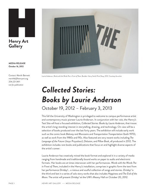 Collected Stories: Books by Laurie Anderson - Henry Art Gallery