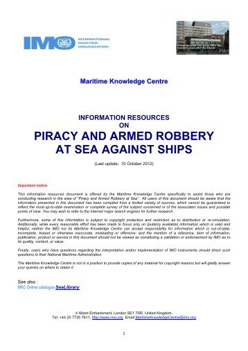 Information Resources on PIRACY AND ARMED ROBBERY ...