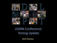 LEARN Conference: Testing Update