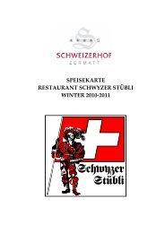 speisekarte restaurant schwyzer stübli winter 2010-2011