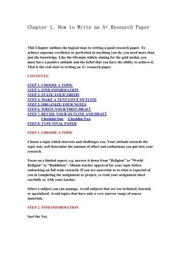 Write chapter 1 research paper