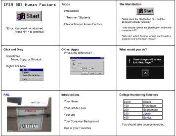 IFSM 303 Human Factors