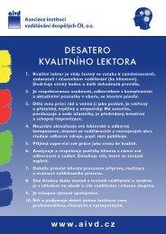 desatero kvalitního lektora - Asociace institucí vzdělávání dospělých ...