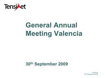 Recent Projects TensiNet Members-AGM Valencia 2009